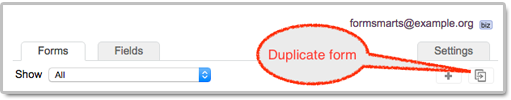 Clone a form with the Duplicate Button of the form builder