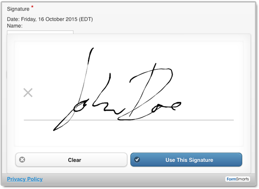 An electronic signature on a FormSmarts online form.