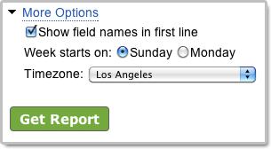 Excel report generator settings