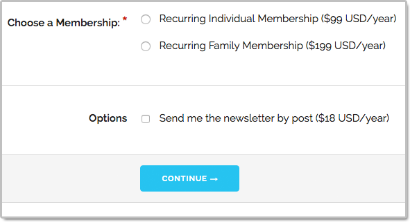 Recurring membership form