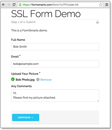 Secure form example