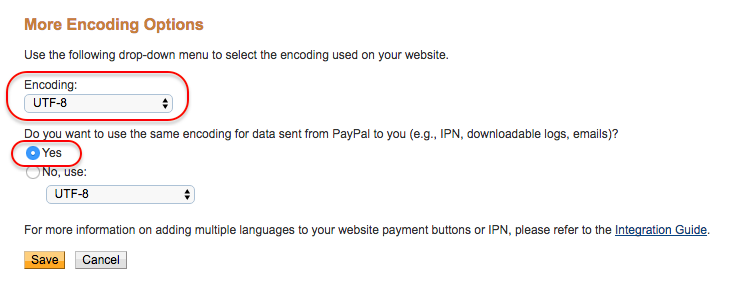 Set PayPal encoding to UTF-8