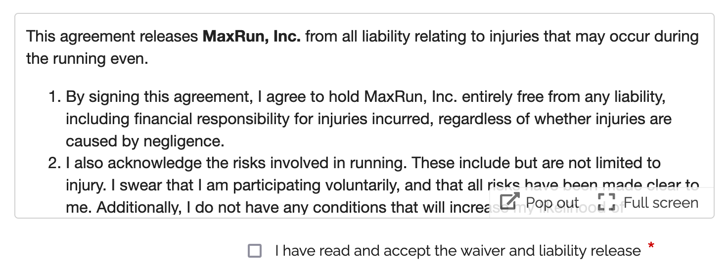Add a liability release, waiver or other agreement to a form