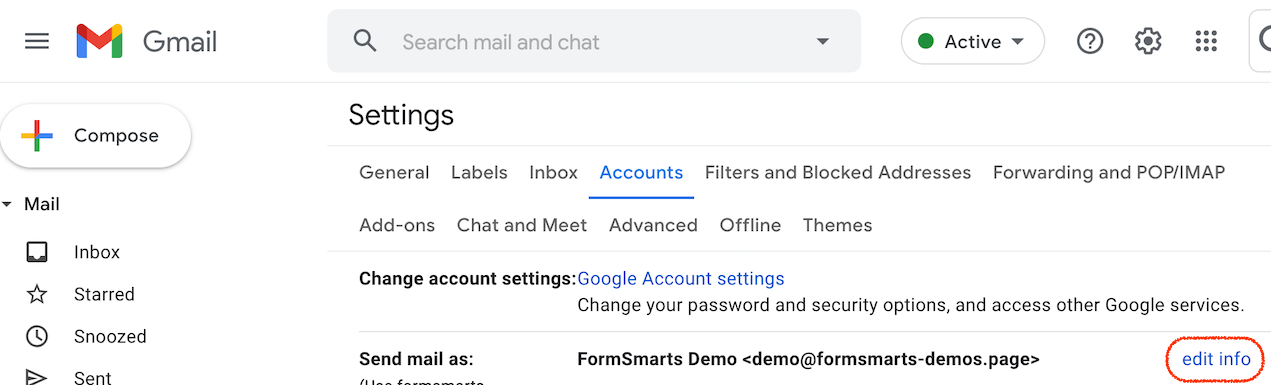 Accounts tab in Gmail Settings