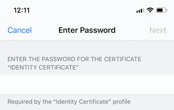 S/MIME certificate password prompt