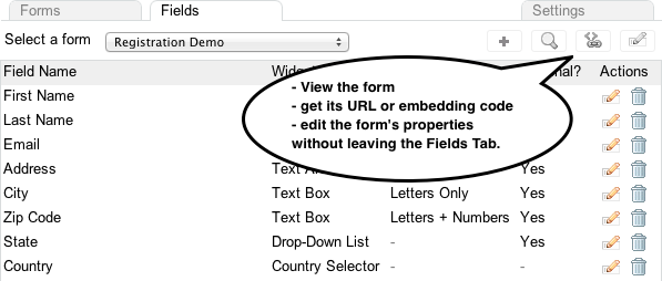 Fields Tab of the Form Builder v 3.0