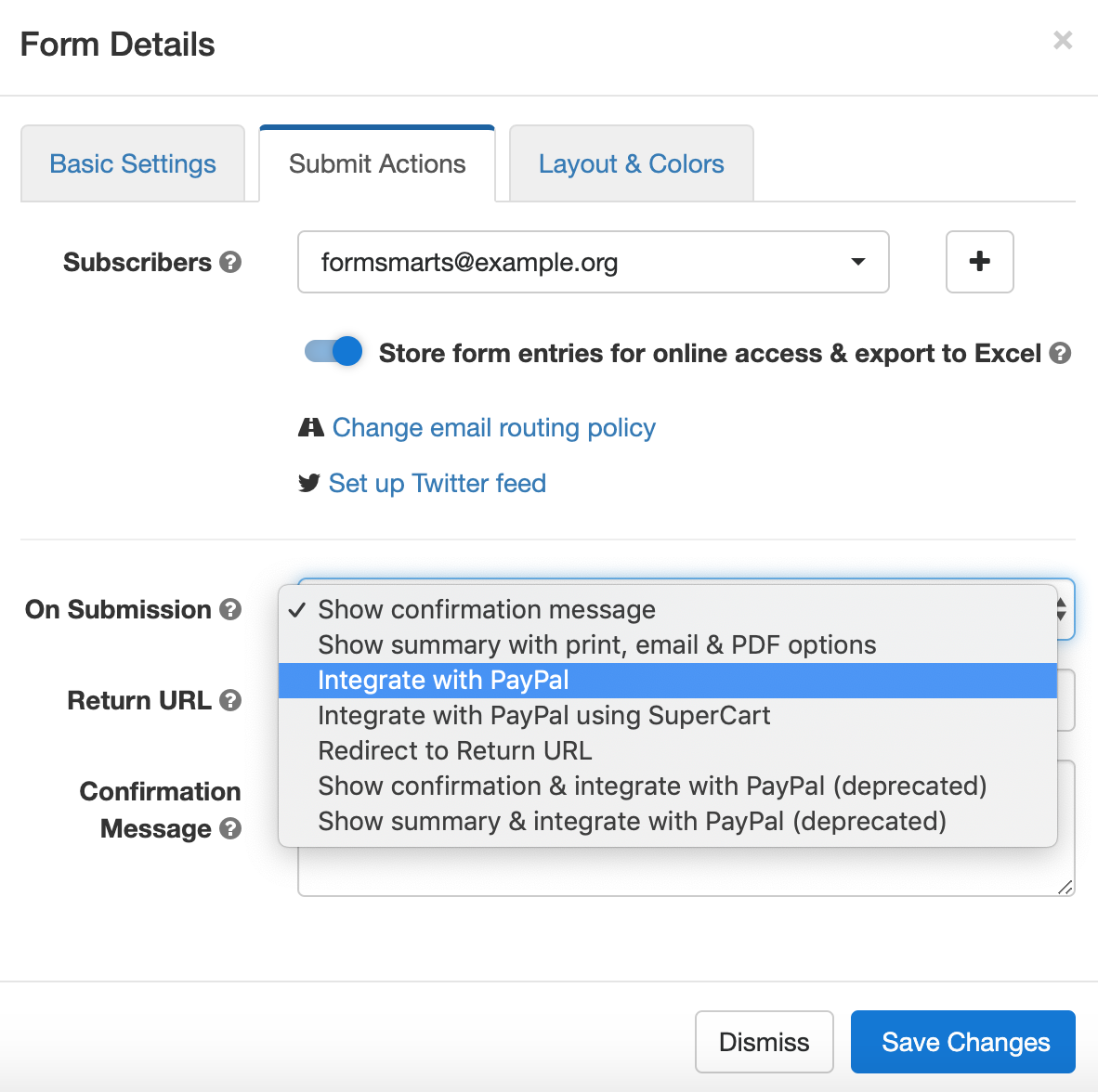 Select Advanced PayPal Integration in the Form Builder