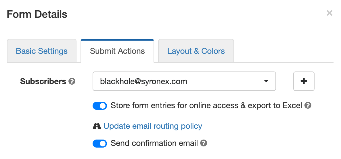 Toggle on form email confirmation in the Submit Actions tab of the Form Builder