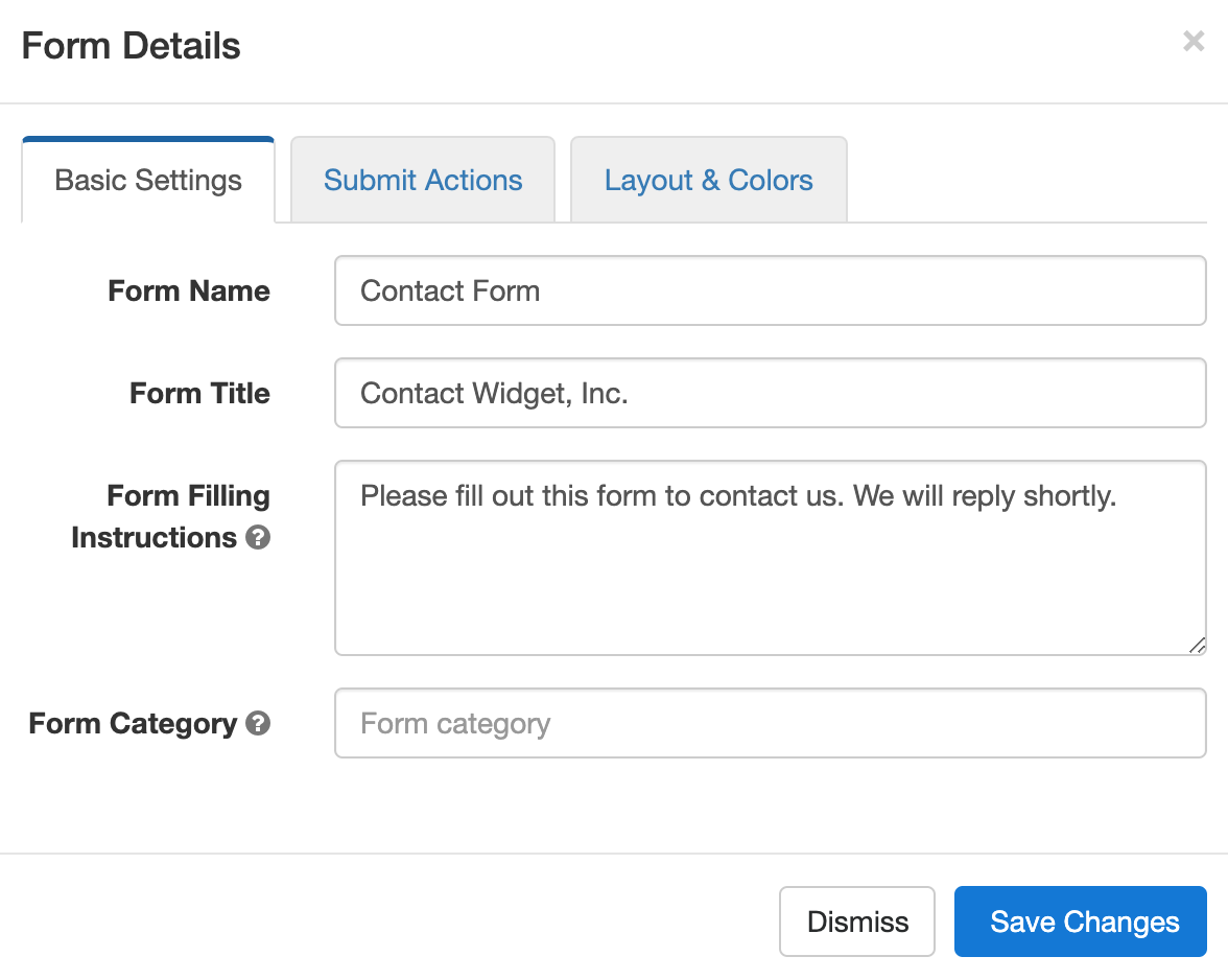 Edit the basic settings of a form in the Form Details screen of the form builder