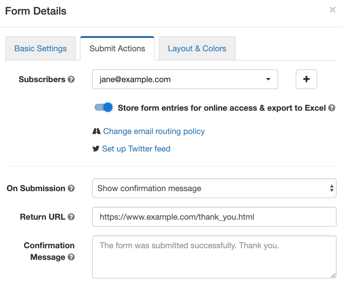 Change actions performed when a form is submitted in Form Details screen of the form builder