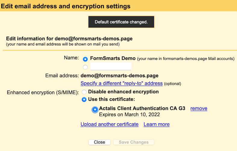 Gmail encryption settings