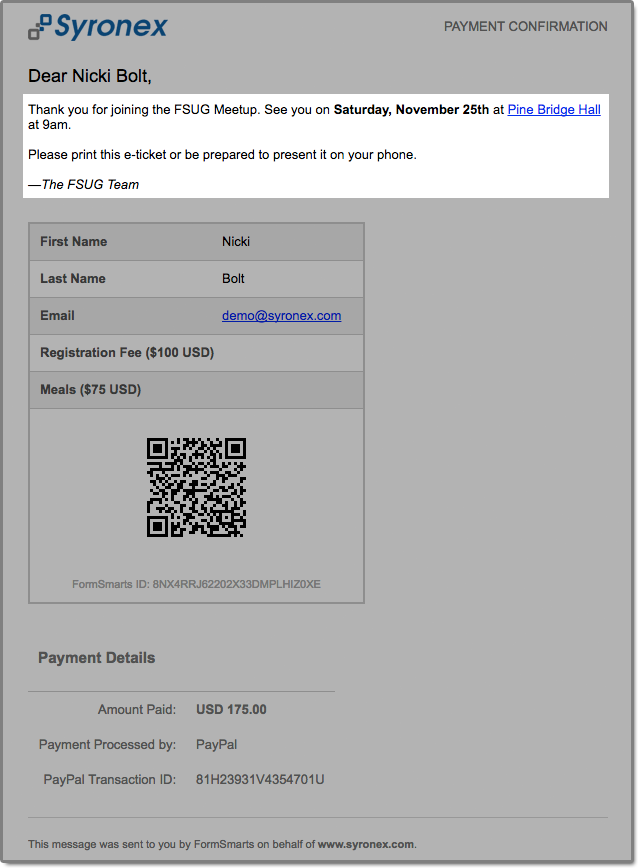 A confirmation email (e-ticket) is sent upon payment