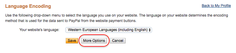 PayPal encoding options
