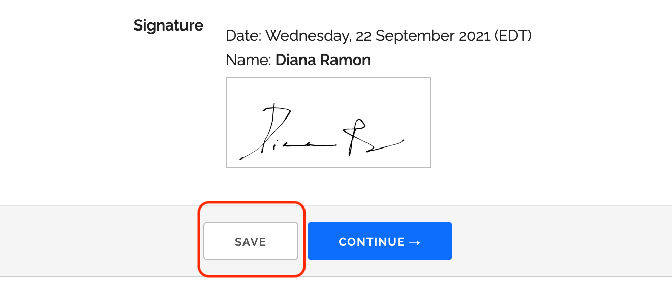 Online Form with Save Button