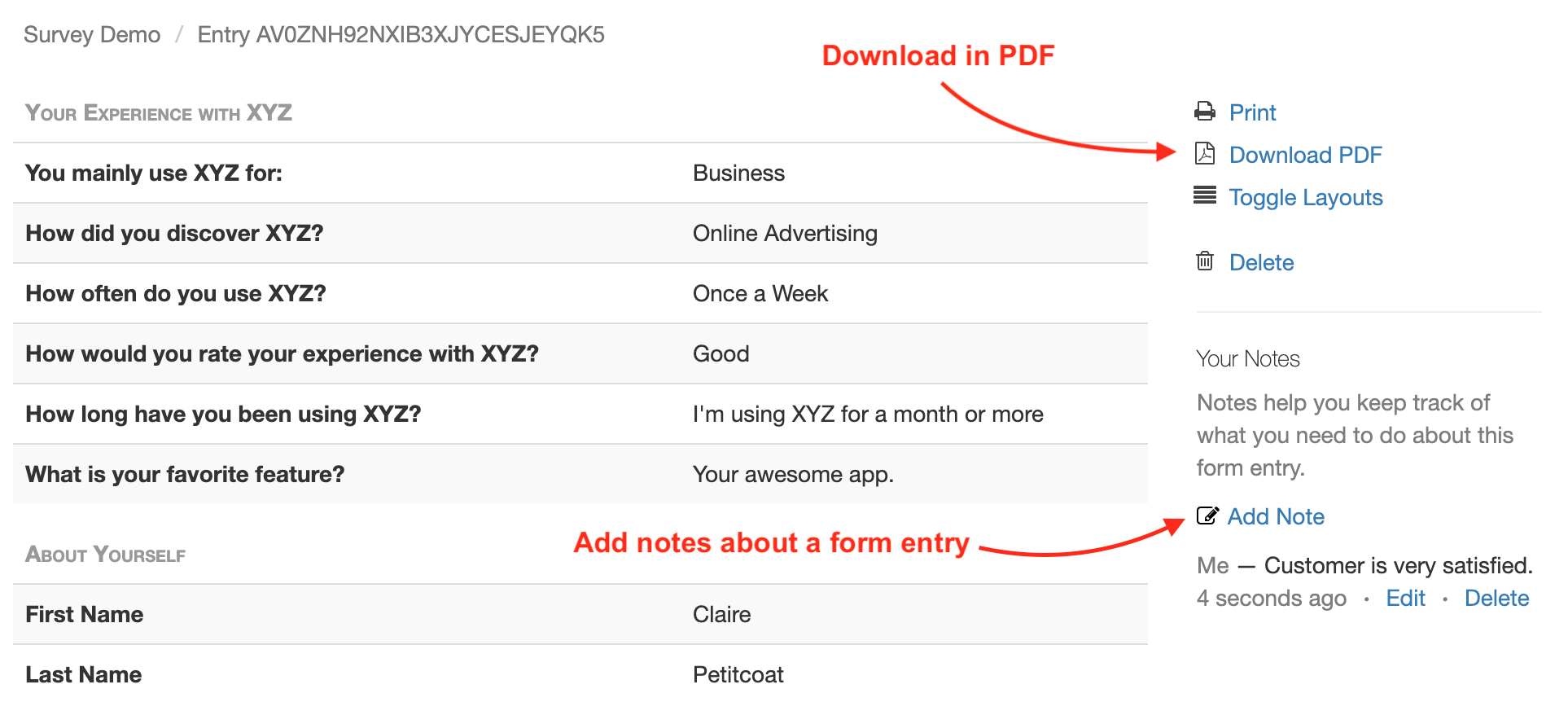 Form Response in PDF