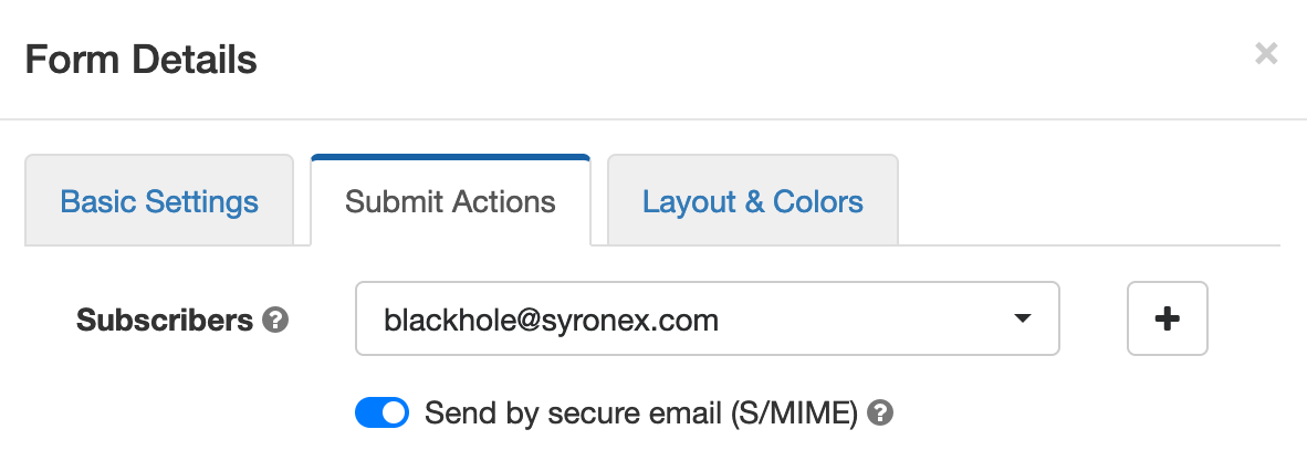 Send by Secure Email (S/MIME)