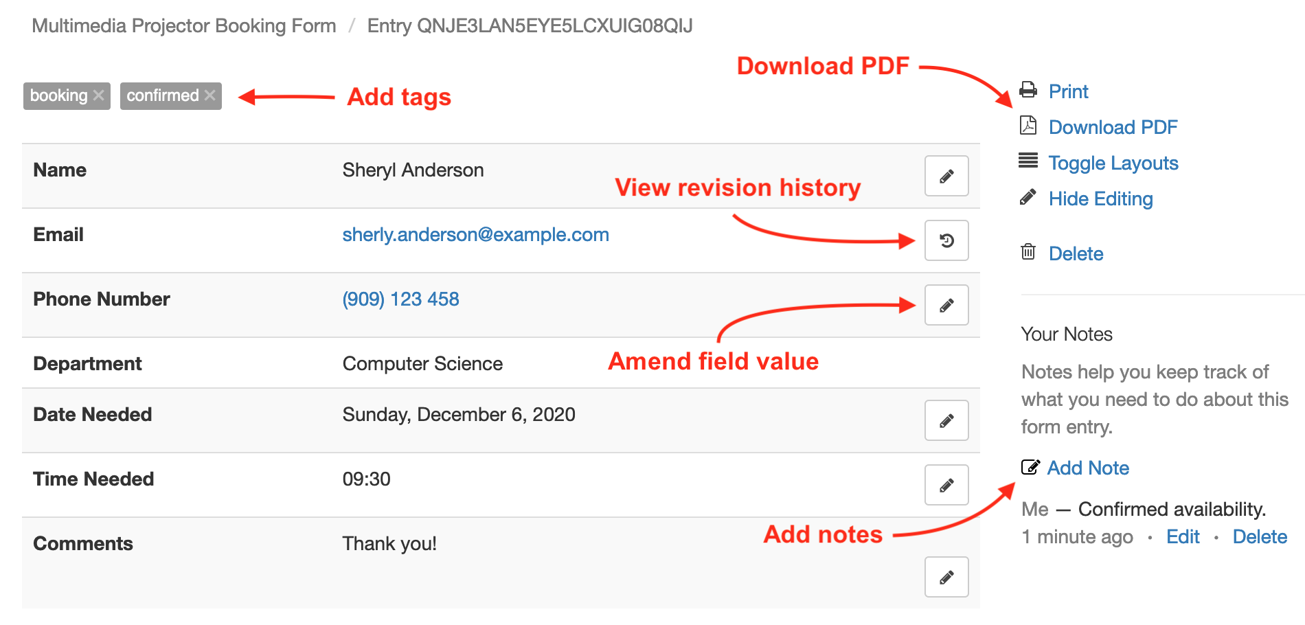 Amend a Form Response, Add Tags and Notes